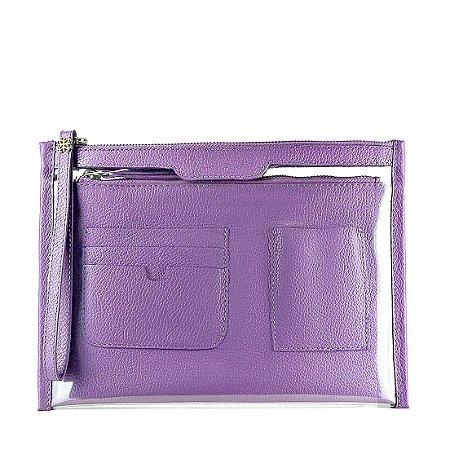 Organizador de bolsa personalizável em couro lilas