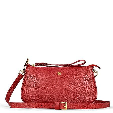 Bolsa Iza em couro vermelho