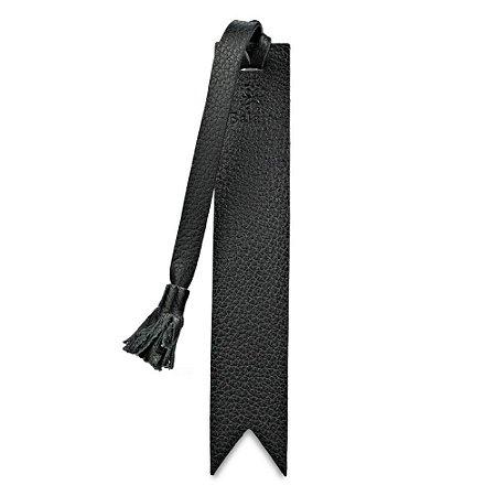 Marcador de livro personalizável em couro preto