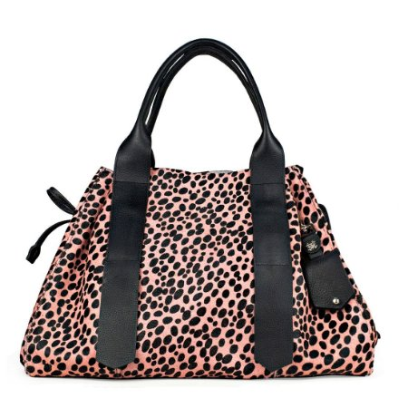 Bolsa Bianca em couro animal print rosa