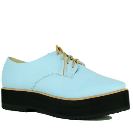 Flat Form Balaia MOD196 em couro Azul Bebe
