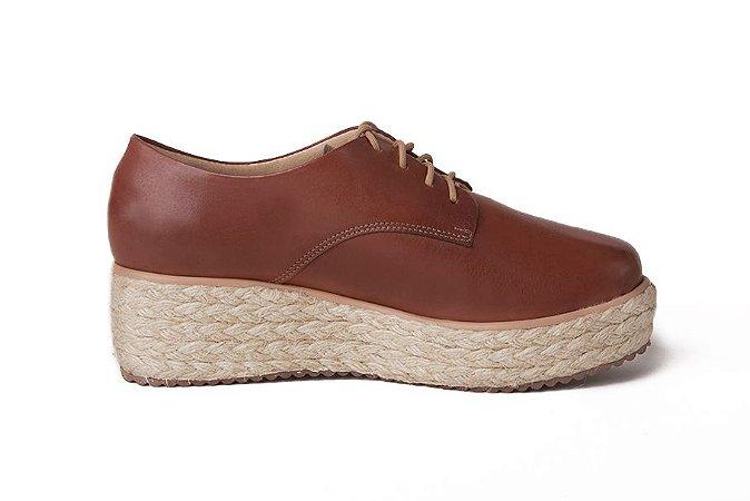 Sapato anabela feminino em couro conhaque mod236