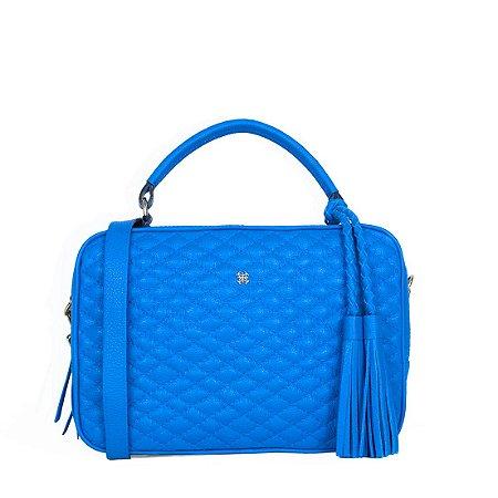Bolsa Balaia Lasse em Couro Azul Cobalto