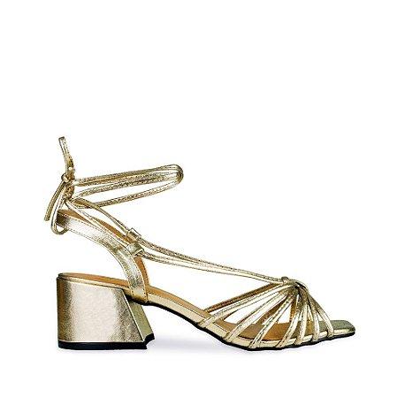 Sandália Balaia MOD321 em couro Metalizado Ouro