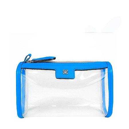 Necessaire G Cristal Balaia em couro Azul Cobalto