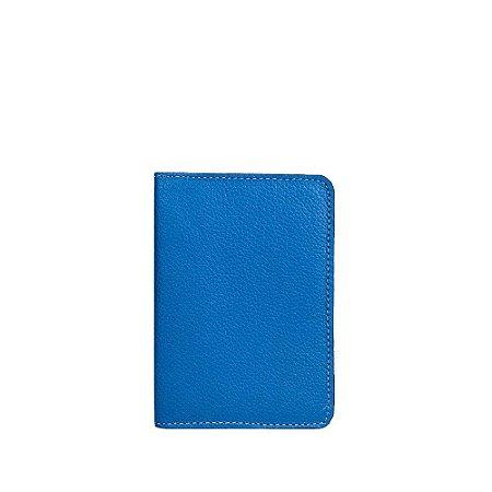 Porta Passaporte Balaia em couro Azul Cobalto