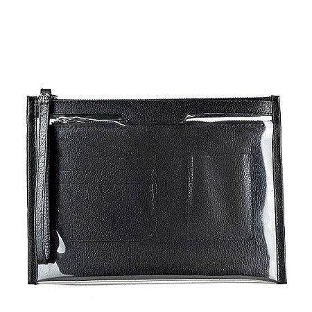 Organizador de bolsa personalizável em couro preto