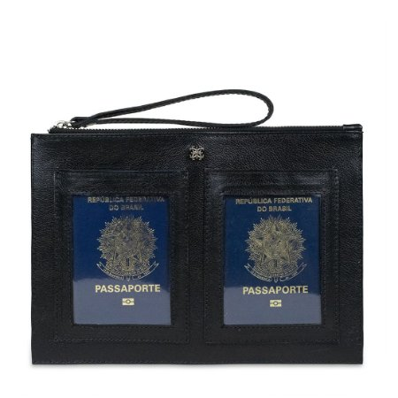 Porta Passaporte Duplo Balaia em couro Preto