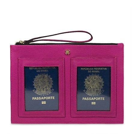 Porta Passaporte Duplo Balaia em couro Lezard Orquidea
