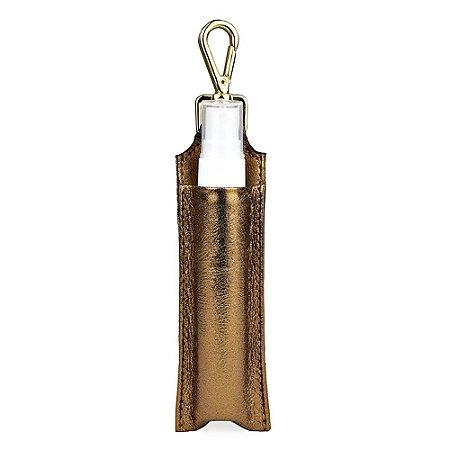 Chaveiro Porta Alcool 70 Spray Couro Cristal Bronze