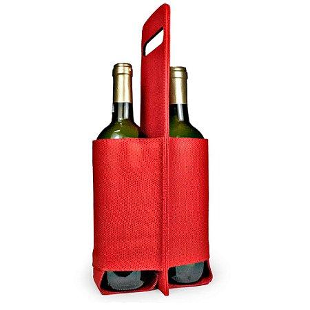 Porta vinho duplo lezard vermelho