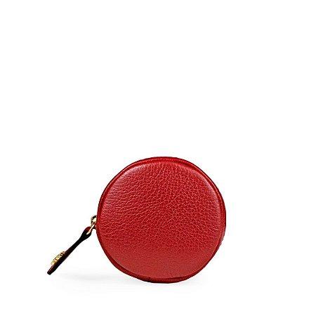 Porta Niquel em couro Vermelho
