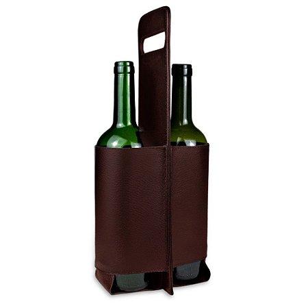 Porta Vinho Duplo em couro Cafe