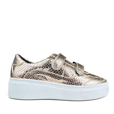 Sneaker Balaia MOD444 em couro Escama Dourada