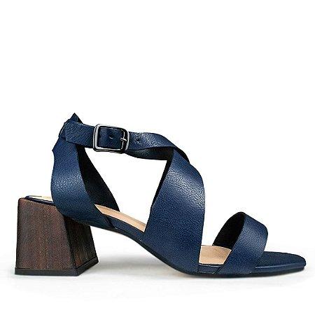 Sandalia Balaia MOD481 em couro Comfort Azul Marinho