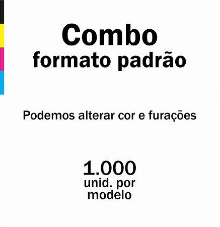 Combo formato padrão, sendo 1.000 cartelas por modelo