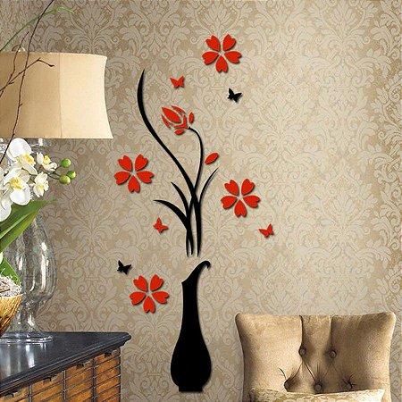 Adesivo de Parede 3D - Alto Relevo - Vaso de Flores Pequeno
