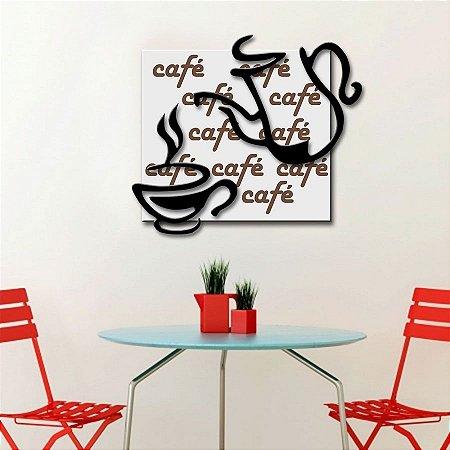Quadro com Imagem Sobreposta - Café - Tamanho 50cm X 50cm