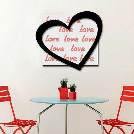 Quadro com Imagem Sobreposta - Love - Tamanho 50cm X 50cm