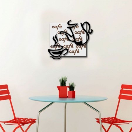 Quadro com Imagem Sobreposta - Café - Tamanho 30cm X 30cm