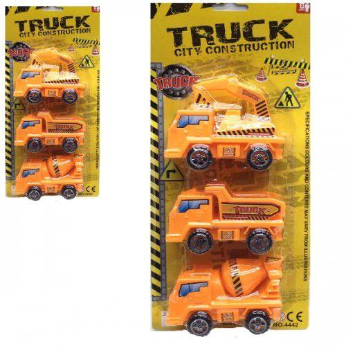 Kit Caminhão Construcao Truck City Construction Ref.4442 - com 3 carrinhos