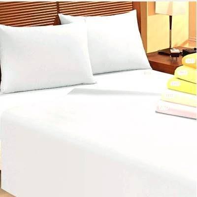 Lençol de Casal BRANCO liso - COM elástico - 100% algodão Percal 180 fios - Lender