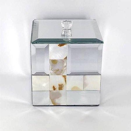 Caixa Multi Uso ou Porta Joias Espelhado com Madreperola com Tampa - Ref.KV0052 - BTC