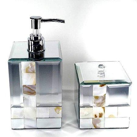 Jogo de Banheiro espelhado 2 pc - com madreperola - KV0050 + KV0052 - BTC