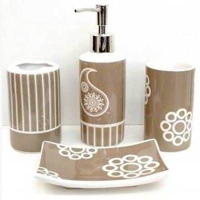 Jogo de Banheiro em ceramica - Flor Cashemire - com 4pc - Ref.312 - Susan