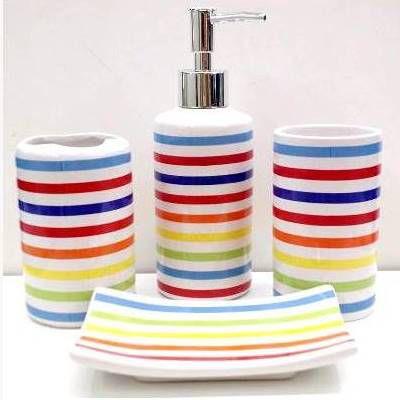 Jogo de Banheiro em ceramica - Listrado - com 4pc - Ref.319- Susan