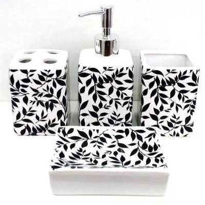 Jogo de Banheiro em ceramica - Folhas Pretas - com 4pc - Ref.304 - Susan