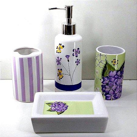 Jogo de Banheiro em ceramica - Hortencia - com 4pc - Ref.306- Susan