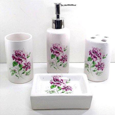 Jogo de Banheiro em ceramica - Rosa Flor- com 4pc - Ref.302 - Susan