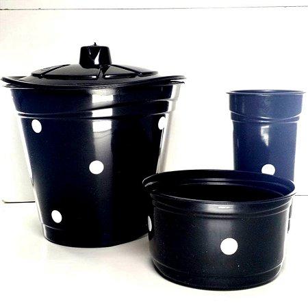 Kit LIxeira Pia com 3 pecas - Plastica com Bolinha- Varias Cores - 5343 - RAE