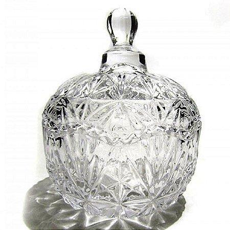 Bomboniere de vidro ou Compoteira GRANDE 20 cm - LAPIDADA REDONDA