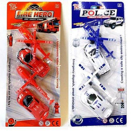 Kit de Resgate FIRE HERO ou POLICE com 2 Helicopteros e 2 Carros de bombeiro - Altimix - AB7288