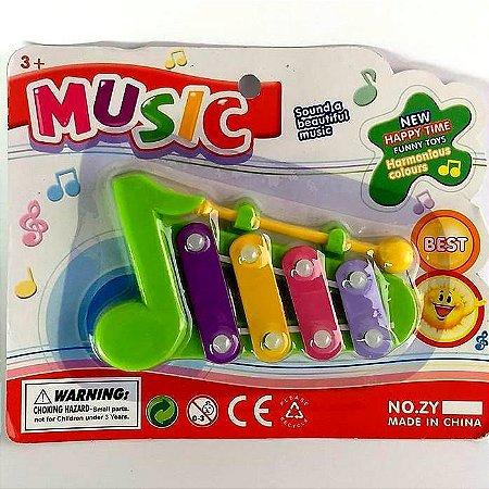 Brinquedo Musical - Xilofone Notas Musicais - 12 x 6 cm - Cores Sortidas - BA18834