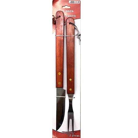 Kit para churrasco com 2 pecas e cabo de madeira- GUBLY0639 Elegantec