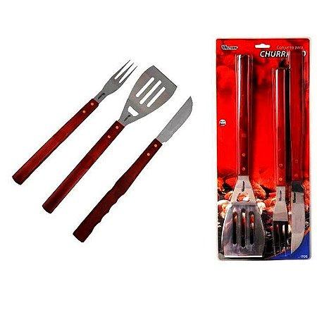 Kit para churrasco com 3 pecas e cabo de madeira- 1705 - Western