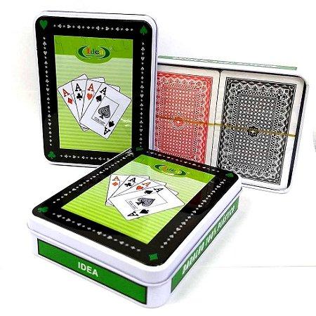 Jogo de Baralho Plastificado Duplo - Jogo de Cartas - LATA COM 2 BARALHOS - ID9780B