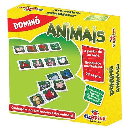 Jogo Pedagogico Brinquedo Educativo  em Madeira - Domino Animais Ref.165 - 28 pecas - Ciabrink
