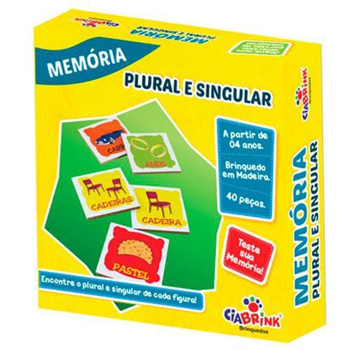 Jogo Pedagógico Brinquedo Educativo em Madeira - Jogo da Memoria Plural e Singular - Ref.171 - 40 pecas - Ciabrink