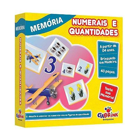 Jogo Pedagógico Brinquedo Educativo em Madeira - Jogo da Memoria Numerais e Quantidades - Ref.172 - 40 pecas - Ciabrink