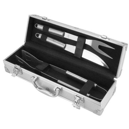 Kit de Churrasco com 3 pecas na maleta de inox DL003KIT Unygift