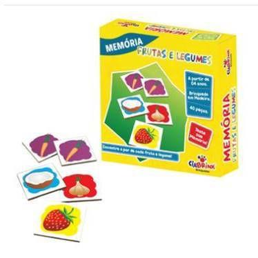 Jogo Pedagógico Brinquedo Educativo em Madeira - Jogo da Memoria Frutas e Legumes - Ref.169 - 40 pecas - Ciabrink