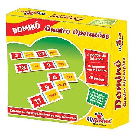 Jogo Pedagógico Brinquedo Educativo em Madeira - Domino Quatro Operacoes Ref.162 - 28 pecas - Ciabrink