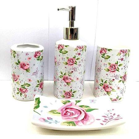 Jogo de Banheiro em ceramica - Rosas - com 4pc - Ref.310 - Susan