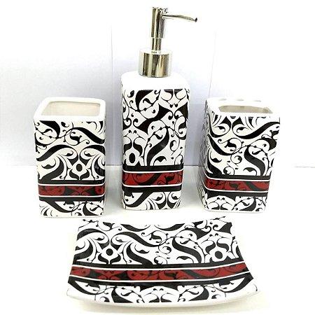 Jogo de Banheiro em ceramica - Tarja Vermelha - com 4pc - Ref.314 - Susan - mv1