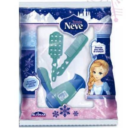 Secador de Cabelo Turbo Dryier com Acessorios -Princesa Beauty Neve Elsa Frozen - Escova de cabelo e Pente - Altimar -2650/2804