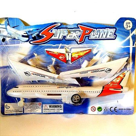 Aviao de brinquedo a friccao com 26 cm - SUPER PLANE - AB7382 - Altimix